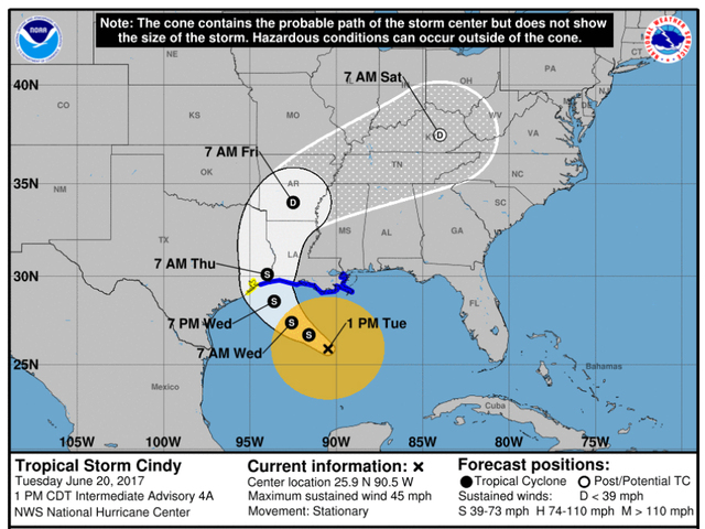 Tropical Storm Cindy Whipping Up Trouble Along Gulf Coast