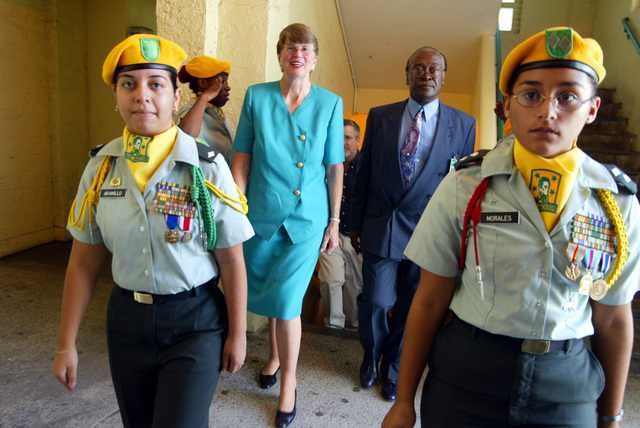 Jrotc Members Escort Democratic Candidate For Florida Governor Janet Reno As She Walks Through Miami Jackson Senior High School September 4 2002 In Miami